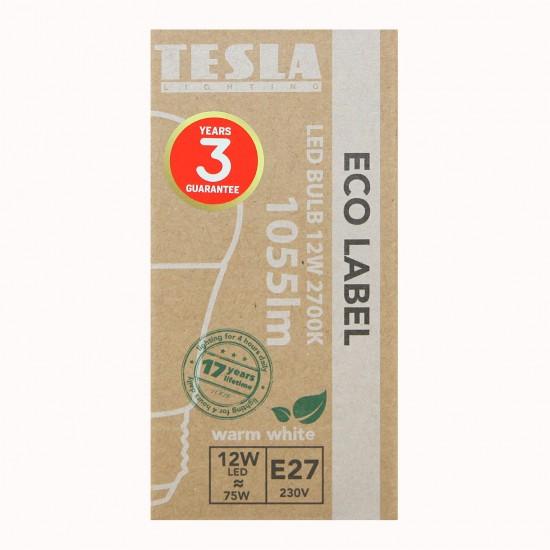 Tesla Λάμπα LED E27 ECO LABEL 12W 1055 lm Θερμό φως