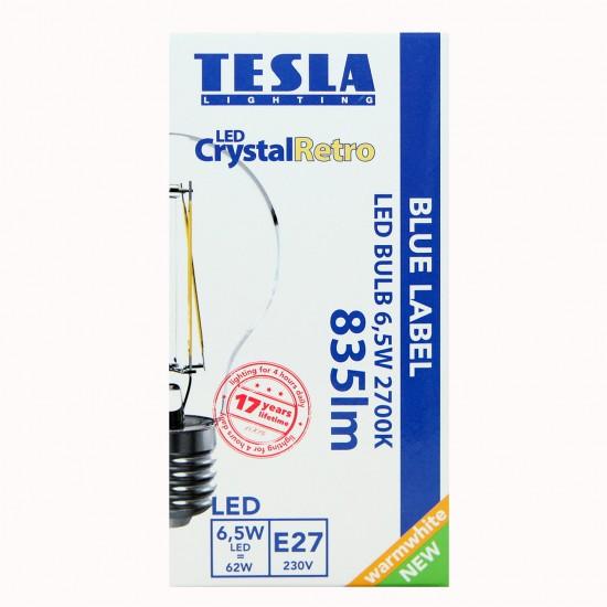 Tesla Λάμπα LED E27, CRYSTAL RETRO FILAMENT, BLUE LABEL 6,5W 835 lm Θερμό φως