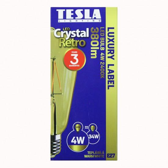 Tesla Λάμπα LED E27 ΑΧΛΑΔΩΤΗ, CRYSTAL RETRO FILAMENT, 4W 380 lm Θερμό φως