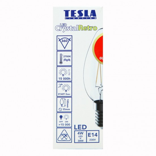 Tesla Κερί LED E14 CRYSTAL RETRO FILAMENT, BLUE LABEL, 4W 470 lm Θερμό φως