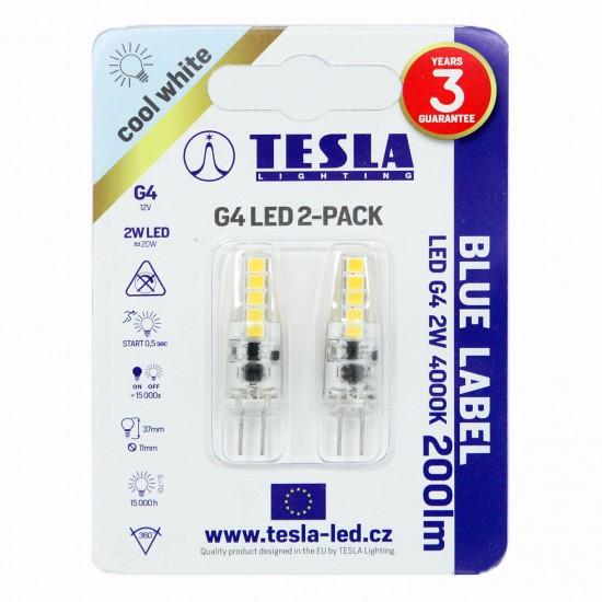 Tesla Λάμπα LED G4 BLUE LABEL  2W 200 lm Φυσικό φως ημέρας