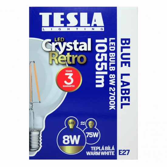 Tesla Λάμπα LED E 27 GLOBΕ, CRYSTAL RETRO FILAMENT, 8W 1055 lm Θερμό φως