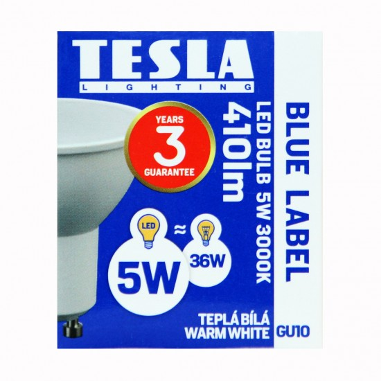 Tesla LED GU10 SPOT, BLUE LABEL, 5W 410 lm Θερμό φως
