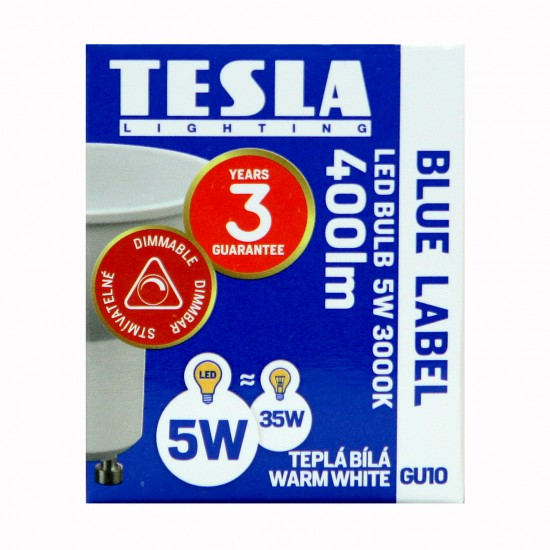 Tesla LED GU10 SPOT DIMMABLE, BLUE LABEL 5W 410 lm Θερμό φως