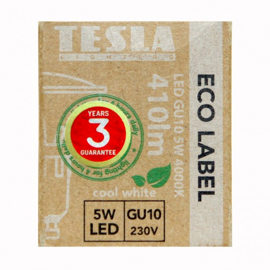 Tesla LED GU10 SPOT, BLUE LABEL, 5W 410 lm Φυσικό φως ημέρας