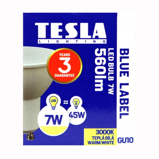 Tesla LED  GU10 SPOT, BLUE LABEL 7W 550 lm Θερμό φως
