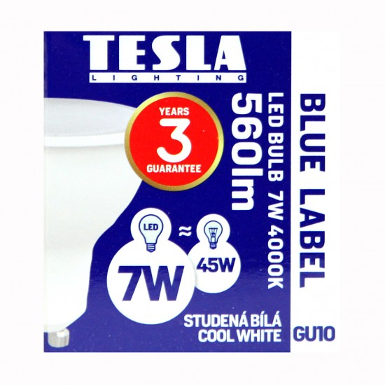 Tesla LED GU10 SPOT, BLUE LABEL  7W 560 lm Φυσικό φως ημέρας