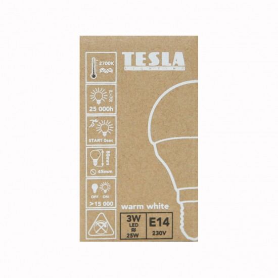 Tesla Λάμπα Σφαιράκι LED E14 ECO LABEL 3W 250 lm Θερμό φως