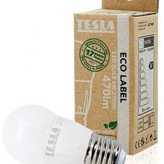 Tesla Λάμπα LED, E27 σφαιράκι 6W 470 lm Θερμό φως
