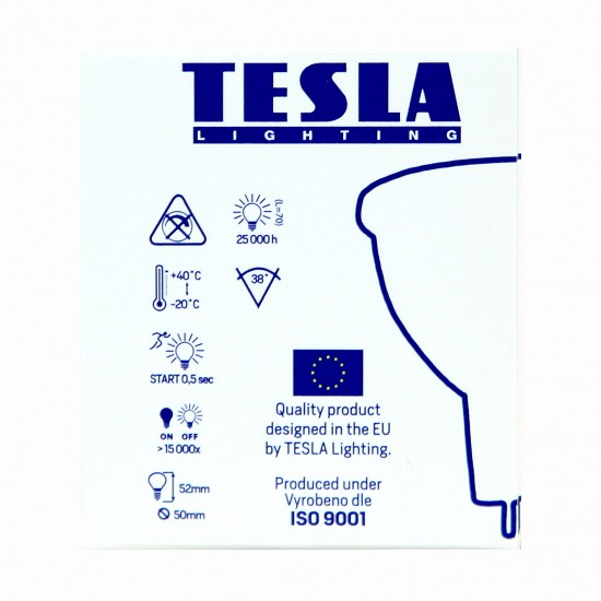Tesla LED MR16 SPOT, 4W 320 lm Θερμό φως