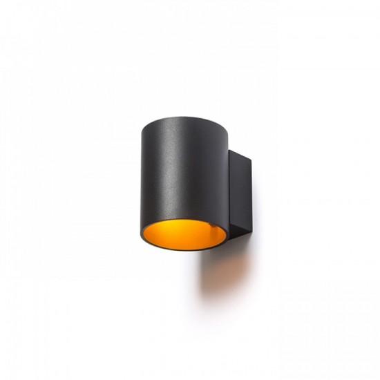 Επιτοίχιο μεταλλικό φωτιστικό, με δέσμη διπλής κατεύθυνσης. Μαύρο / χρυσό.
